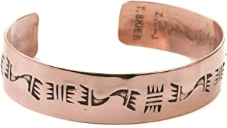 Turquoise Skies Tskies Bear's Journey Navajo Copper Bracelet for Women Hand Stamped Cuff Native American Made