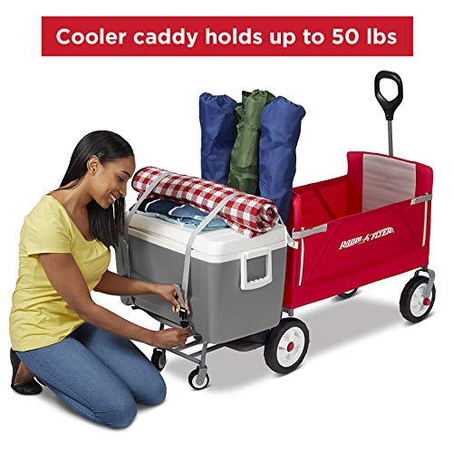 Radio Flyer 3-in-1 Folding Wagon with Cooler Caddy for Kids, Garden & Cargo (Amazon Exclusive) , Red