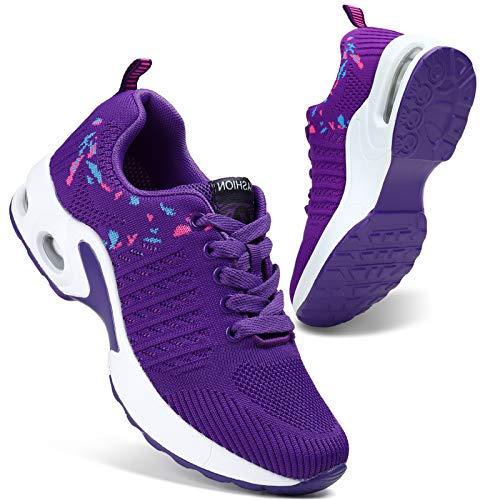 HKR Laufschuhe Damen Sneaker Atmungsaktive Turnschuhe Freizeit Sportschuhe Violett/36 EU
