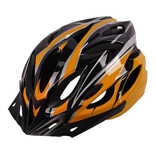 YATT Casco De Bicicleta, Moldura De Una Pieza 18 Hoyos Cómodo Transpirable con Visera Solar Tamaño Ajustable Ligero para Montar En Carretera Casco Naranja Negro Adecuado para Adultos