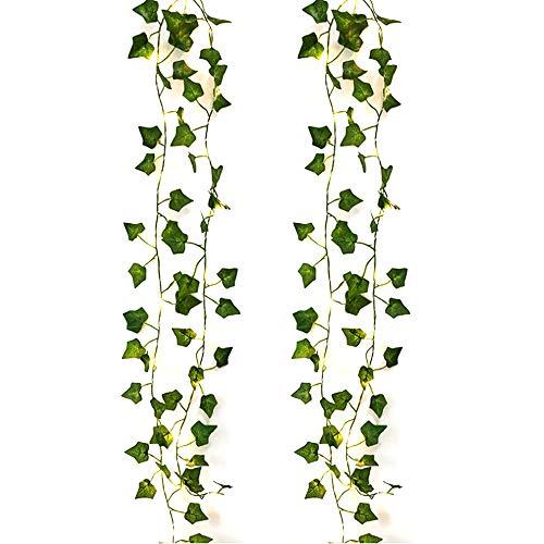 Zunbo Kette LED-Lichterkette, künstliche Pflanzen, grün und rose, Efeublatt, für Haus, Dekoration, Hochzeit, Lampe, zum Aufhängen, Garten, Hof, Beleuchtung, 2 m, 20 LEDs (2)