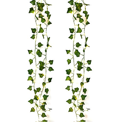TONGXU 2m 20 LED Green Ivy Leaf Garland String Lights, Artificial Leaf Vine Lights, Flexible Copper, Perfect for Indoor, Bedroom, Wedding, Party Decorations