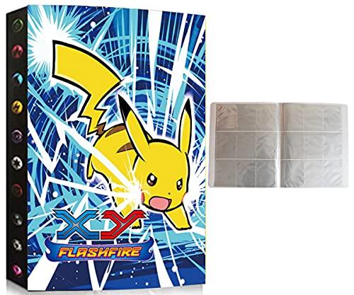 Album Compatible Con Cartas de Pokemon, Album Compatible Con Pokemon Para Cartas, Álbum de Pokemon, Carpeta compatible con Cartas Pokemon, Sostiene hasta 432 tarjetas (XY-PIKACHU-SD)