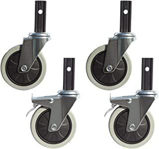 4X Casters/Castor100mm Swivel Caster/Brake Caster Combination for Dining CartsShopping CartsSoft WheelsSilent and Wear-Res...