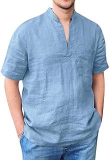 Camisa Hombre Manga Corta Transpirable y cómodo Camiseta de algodón y Lino de Color sólido para Hombre con Cuello en V con...