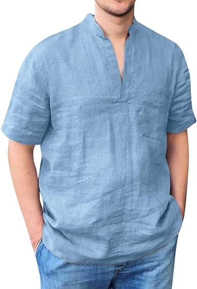 Camisa Hombre Manga Corta Transpirable y cómodo Camiseta de algodón y Lino de Color sólido para Hombre con Cuello en V con Bolsillo Camisas Casual ...