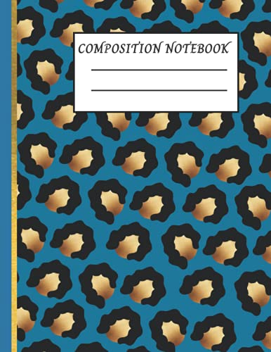 Blue and Gold Leopard Print Composition Notebook: cheetah print journal- College Ruled 120 Pages - Large 8.5 x 11