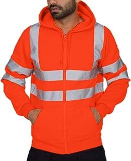 Hi Viz Workwear Security Road Works Concealed Hood Flashing Top Men Coat