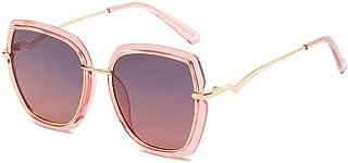, Nieuwe gepolariseerde zonnebril, dames simpele bril, grote frame mode trend match (Size : Gray tea powder frame)