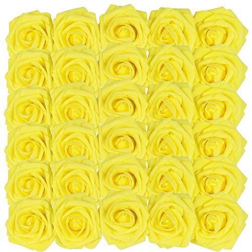 Homcomodar Flores Artificiales Rosa Aspecto Real Rosas Falsas con Tallo para Boda (30pc, Amarillo)