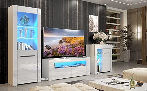 Furneo High Gloss & Matt White Living Room Set TV Stand Sideboard Display Cabinet Milano Blue LED Lights
