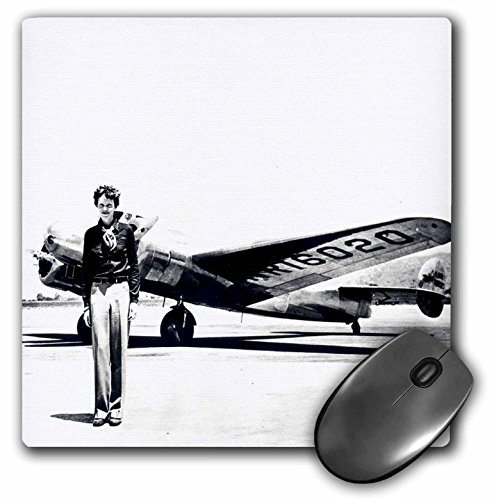 3dRose 8 x 8 x 0.25 Inches Mouse Pad, Old Photo of Amelia Earhart with Lockheed Electra Model 10…