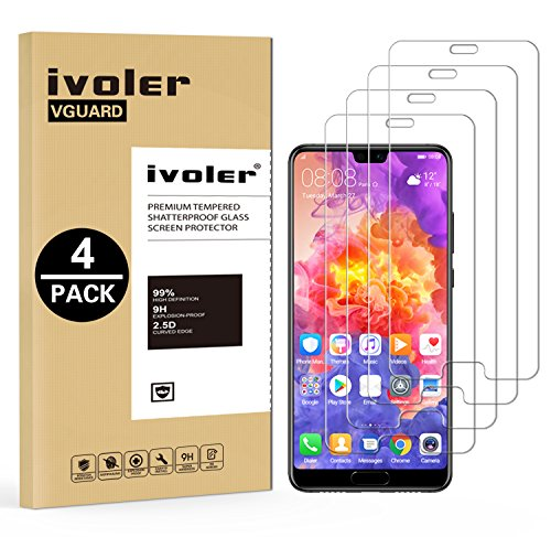 ivoler [4 Unidades] Protector de Pantalla para Huawei P20 Pro, Cristal Vidrio Templado Premium