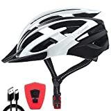 VICTGOAL Casco Bicicleta Adulto con Seguridad LED Luz Trasera Casco de Montaña para Hombres Mujeres Casco Bicicleta con Visera Desmontable 57-61 CM (Blanco Negro)
