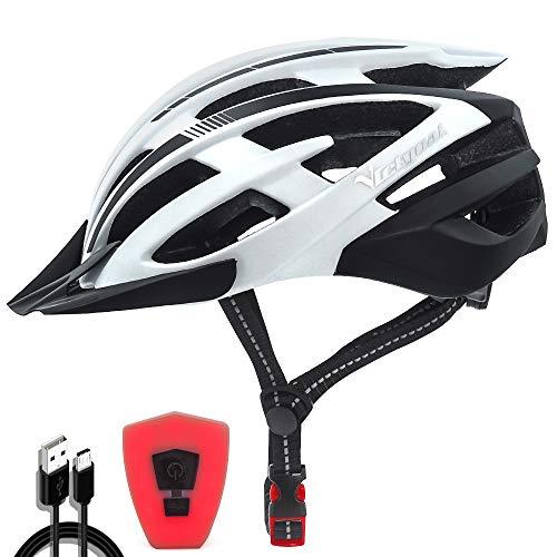 VICTGOAL Casco Bici con Luce di Sicurezza Casco Montagna da Adulto Ciclismo Casco Bici Uomo con Visiera Casco di Protezione 57-61 CM (Bianco Nero)