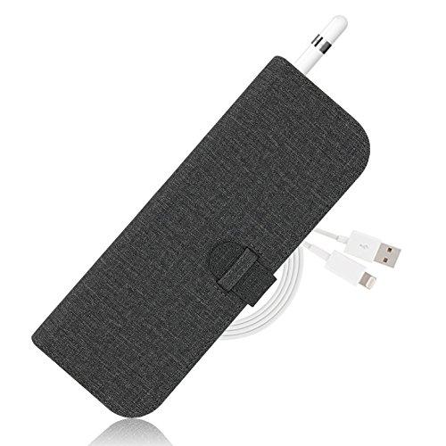 LOE Apple Pencil ケース - アップル ペンシル 充電ケーブル キャップ カバー 収納ホルダー付 (グレー)