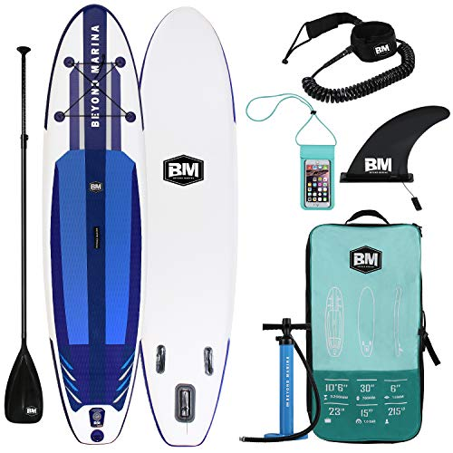 "Beyond Marina Ultra-Light Inflatable Stand Up Paddle Board 10'6'' Long 6"" Thick SUP Paddle Board W Premium Carbon Paddle, Dual Action Pump, Leash, Waterproof Backpack, Blue"