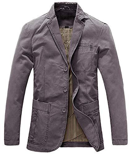 chouyatou Men's Casual Three-Button Stripe Lined Cotton Twill Suit Jacket (Medium, Grey)