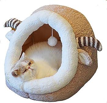 YunNasi Lit pour Chat pour Petit Chien Maison de Chat Niche Chat Maison et Dôme pour Chat (30x30x30cm, Style1)