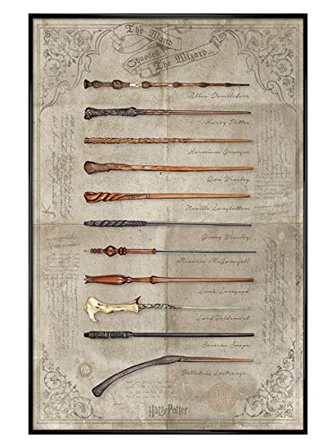 Harry Potter Maxi Poster 61 x 91,5 cm Cadre Noir Brillant The Wand de