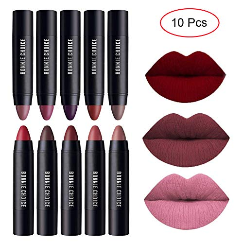 BONNIE CHOICE 10 Colors Moisturizing Matte Lip Pencil Crayon, Velvet Lipstick Waterproof Long Lasting Makeup Cosmetic Hot Red Lip Liner (10 Colors)