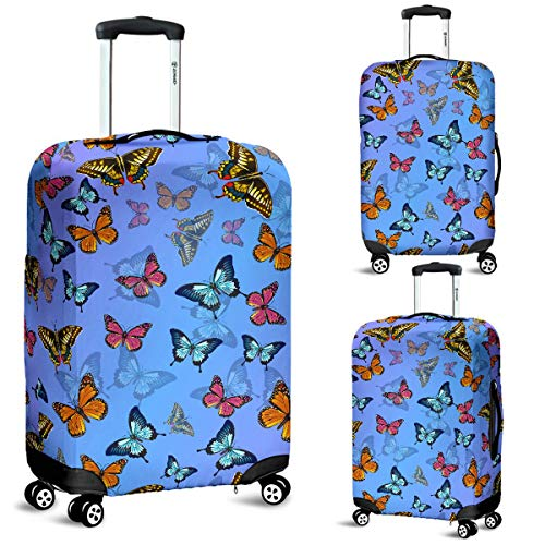 Colorful Butterflies Luggage Suitcase Cover Protector Decor Butterfly Gift Item (Large)