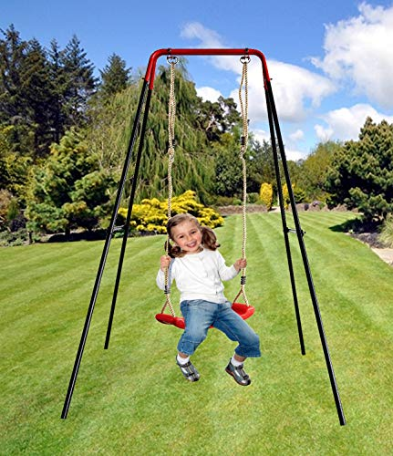 Izzy Schaukelgestell Metall mit Brettschaukel 152x152x185 cm Tragkraft 50 kg Kinder Garten Outdoor Komplett Schaukelgerüst