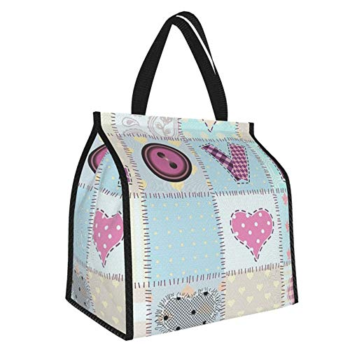 Y-shop Farmhouse Decor Love Lettering Generated With Diverse Retro Repeat Figures Pieced Artwork Blue Pink Picnic Freezer Bag,Large Insulated Cooler Bag Picnic Camping Beach Tour Bbq 30l