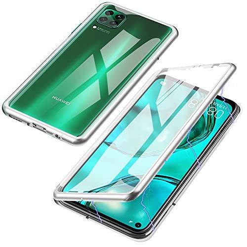 Jonwelsy Funda para Huawei P40 Lite, Adsorción Magnética Parachoques de Metal con 360 Grados Protección Case Cover Transparente Ambos Lados Vidrio Templado Cubierta para Huawei P40 Lite (Plata)
