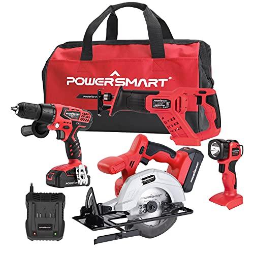PowerSmart Combo Kit, 4-Tool Combo Kit, 20V Cordless Drill/Saw Combo Kit, Cordless 1/4