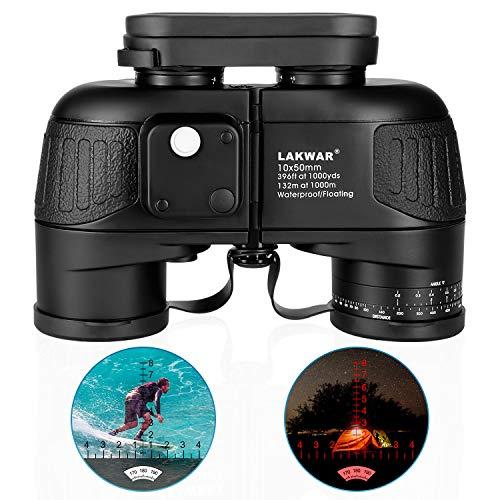 Marine Binoculars 10x50 for Long Distance Compact Binoculars for Adults with Rangefinder Compass High Grade Binoculars BAK4 Prism Waterproof Fogproof for Birdwatching, Hunting