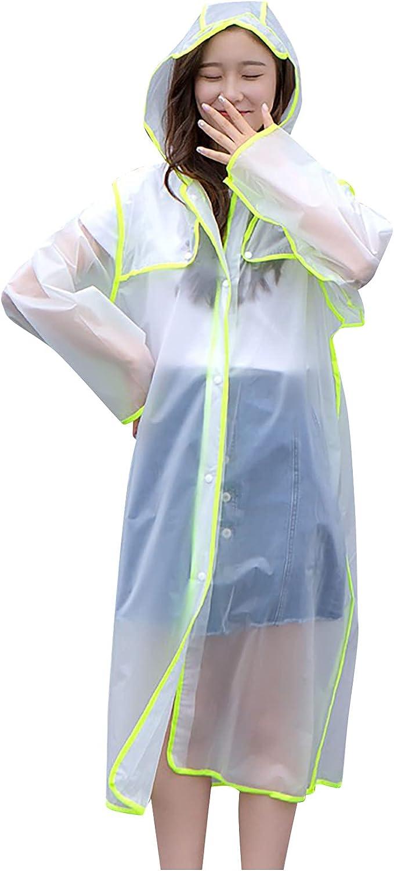 CofeeMO Raincoat for Adult Long Sleeve Trench Coat Casual Waterproof Work Wear Walking Jacket Windproof Lightweight