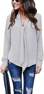 Mujer Camisas Casual Elegante De Gasa De Manga Larga Pour Oficina Camiseta Blusa De Gasa Color Sólido con Cuello En v y Corbata