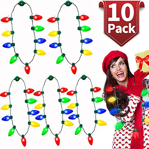 iGeeKid 10 Pack Christmas LED Light Up Bulb Necklace Christmas Holiday Accessories Party Favors Ugly Sweater Xmas Necklace for Kids Men Women, Christmas Decoration New Year Party Supplies