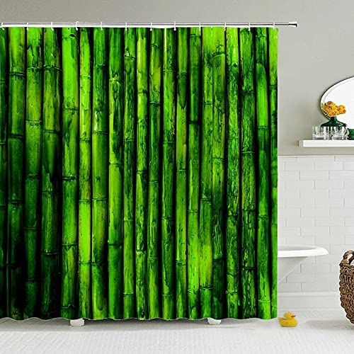 NDV18 STORE Fixed price for sale Green Plant Bamboo Max 49% OFF Curtain Curt Shower Bath Bathroom