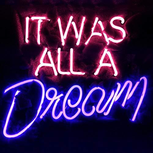 LiQi TM Neonschild mit Aufschrift It was All A Dream, 35,6 x 29,5 cm, echtes Glas, Acryl, handgefertigt, für Zuhause, Schlafzimmer, Pub, Hotel, Strand, Freizeit-Spielzimmer, Dekoration