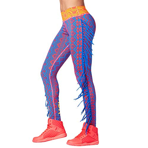 Zumba Fitness Breiter Bund Fitnesshose Workout Print Kompression Sporthose Damen Leggings alla Caviglia, Pink Happy 1, L Donna