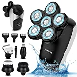 Pamoire Electric Razors for Men, 5 in 1 Wet & Dry Rotary Cordless Bald Head Shaver Nose Hair Beard Trimmer Clippers Facial Cleansing Brush kit with 6 Heads Shaver LED Digital Display, IPX7 Waterproof