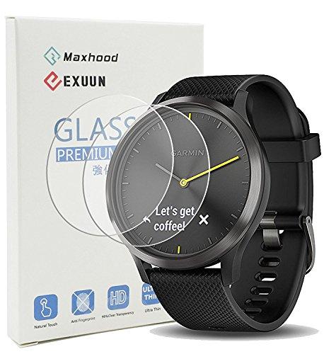 Maxhood (pezzi) Garmin Vivomove HR, pellicola in vetro temperato 9H 2.5d Round Edge anti-impronte Screen Protector per Garmin Vivomove HR