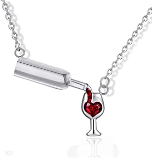 Love Red Wine Winebottle Pendant Necklace for Woman Cubic Zirconia Heart Unique Design Jewelry