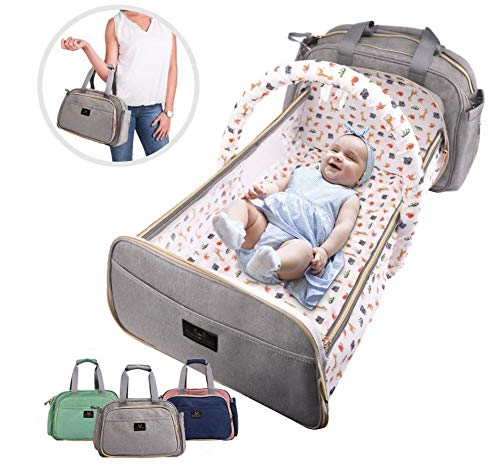 "Gray 7-in-1 Convertible Baby Diaper Backpack Carrier Waterproof Folding Crib Essential Travel Baby Bag Bassinet USB Charging Port PU Wallet Changing Pad Lightweight 4 Way Carry Spacious 19.6"" x 10.2"""