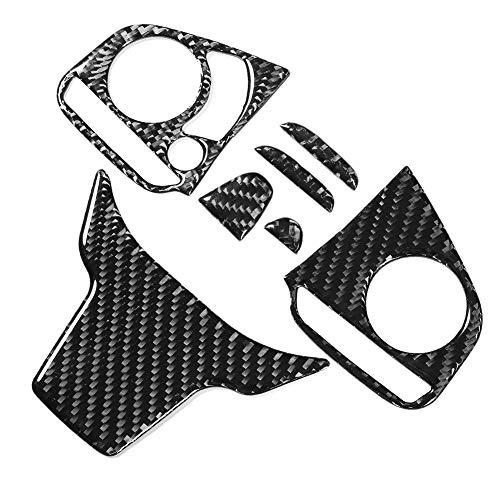 SANON Cubierta de Ajuste Del Panel Del Interruptor Del Botón Del Volante de Fibra de Carbono de 3 Piezas para Honda Civic 10Th Fc/Fk 2016-2019 (Tipo A)