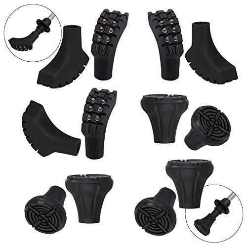 ALPIDEX 12 Unidades / 6 par de conteras para bastón de Marcha nórdica - Taco de Goma para Asfalto/Piedra y Suelo Blando