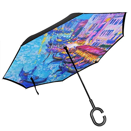 City View Venice Italy Grand Canal Gondola Painting Reverse Umbrella Double Layers Inverted Umbrella Cars Windproof UV Proof With C-Shaped Handle