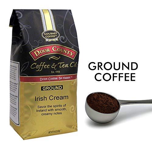 Door County Coffee, Irish Cream, Flavored Coffee, Medium Roast, Ground Coffee, 10 oz Bag