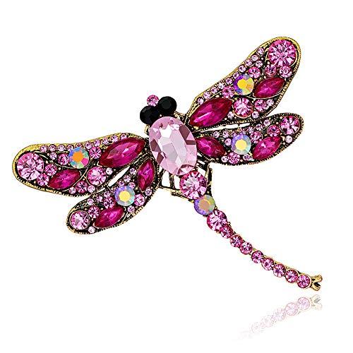 ブローチ HooAMI キラキラ 赤 合金ラインストーン大判トンボ 蜻? 昆虫胸飾り レディース ジュエリー かわいい アクセサリー 感謝祭 プレゼント