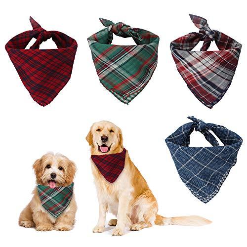 Dadabig 4 Stück Bandana für Hund, Haustier Bandanas Hundehalstuch Kragen Stilvolle Kariertes Hunde-Halstuch Reversibel Dreieck Lätzchen Welpen Halstuch für Niedlichen Hunde und Katze (Baumwolle)