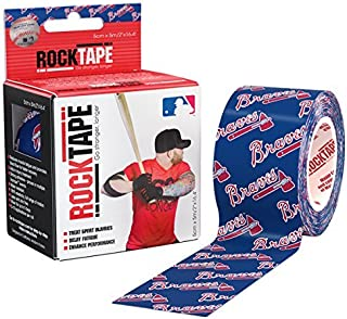 RockTape Original 2-Inch Water-Resistant Kinesiology Tape, 16.4-Foot Continuous Roll, MLB Braves