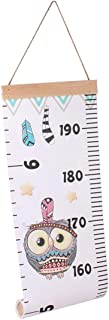 UGpine Removable Wood Frame Fabric Canvas Children's Height Ruler Toddlers Measurement Wall Hanging,Roll-up Kids Growth DIY Simple Creative Decoration,Nursery Animal Decals for Kids from Baby to Adult