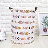 JiaxianGu3Je Baumwolle Leinen Art wasserdicht faltbar Nordic Wäschekorb Korb Aufbewahrungseimer Aufbewahrungskorb (Color : Striped Anchor, Size : 35X45)